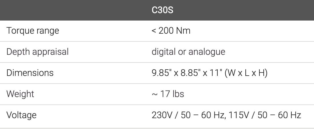 C30S - Specs